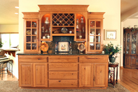 Thumb misc  traditional style  knotty oak  medium color  raised panel  china   hutch   bar  wine rack  glass grid doors  open shelving with arch  glass shelving  standard overlay   6 crown