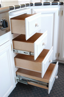 Thumb misc  traditional style  painted   white   bank of drawers with different guides  bread board   4 edge