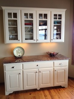 Thumb misc  traditional style  painted  raised panel  glass grid doors  arched toekick  feet  buffet  hutch  standard overlay