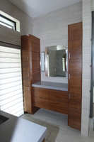 Thumb vanity  contemporary style  walnut  medium color  banded door  frameless construction  floating  vanity tower