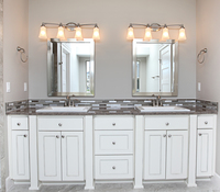 Thumb vanity  craftsman style  painted  recessed panel  legs  posts  double sink  full overlay