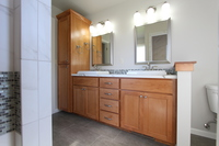 Thumb vanity  shaker style  beech  light color  recessed panel  linen cabinet  double sinks   39 crown  standard overlay
