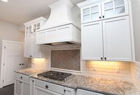 Thumb kitchen  craftsman style  painted  recessed panel  glass grid doors on top  wood hood  standard overlay