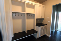 Thumb laundry or utility  contemporary style  painted  recessed panel  cubbies  coat rack and hooks  bench seat open below  drop off station  mud room  square crown