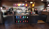 Thumb misc  commercial  wake up call coffee  frameless construction  custom laminate  dark color  open shelves  2
