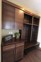 Thumb misc  contemporary style  quartersawn walnut  dark color  banded door  cubbies  lockers  coat hooks  drop off station  bench  full overlay  2